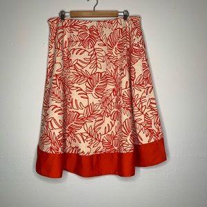 Lane Bryant leaf print skirt linen blend